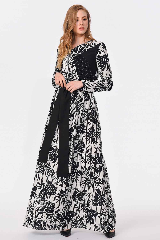 MIZALLE Çizgili Parça Garnili Uzun Elbise (Siyah/Beyaz) (1)