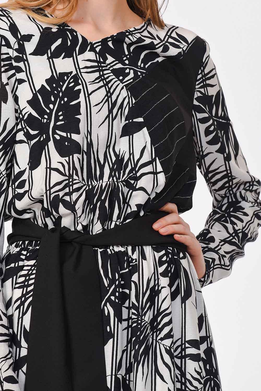 Çizgili Parça Garnili Uzun Elbise (Siyah/Beyaz) (1)