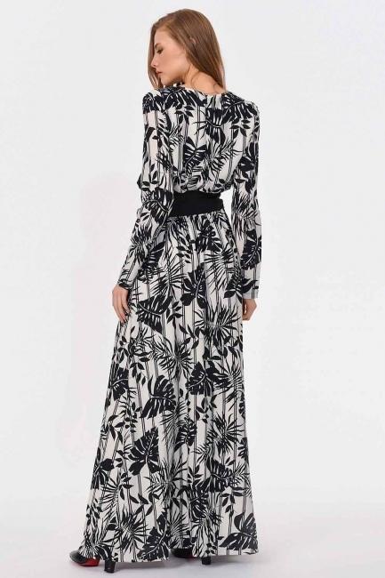 Çizgili Parça Garnili Uzun Elbise (Siyah/Beyaz) - Thumbnail
