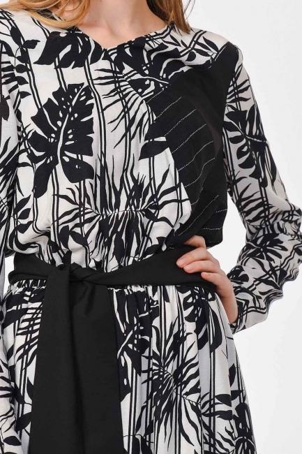 Striped Piece Long Dress (Black/White) - Thumbnail