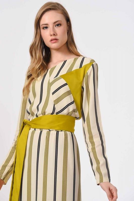 Çizgili Parça Garnili Uzun Elbise (Ekru/Yeşil)