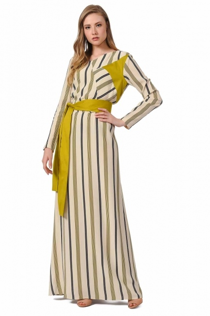 MIZALLE Çizgili Parça Garnili Uzun Elbise (Ekru/Yeşil)