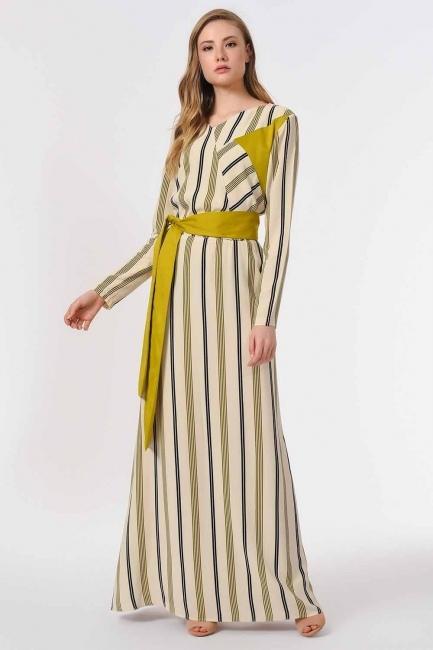 Çizgili Parça Garnili Uzun Elbise (Ekru/Yeşil) - Thumbnail