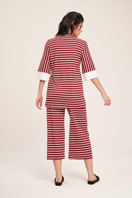 Çizgili Pijama Takımı (Bordo) - Thumbnail