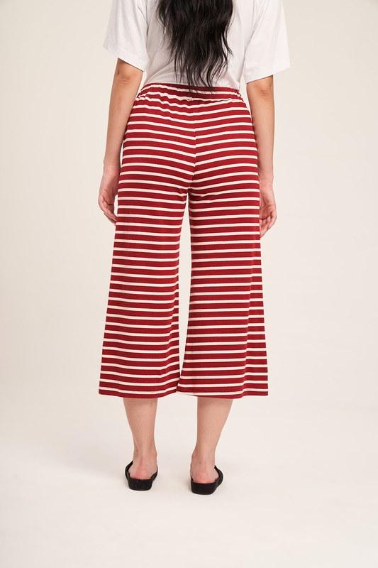 Çizgili Pijama Takımı (Bordo)