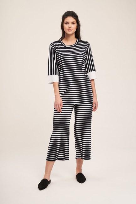 Mizalle - Çizgili Pijama Takımı (Siyah)