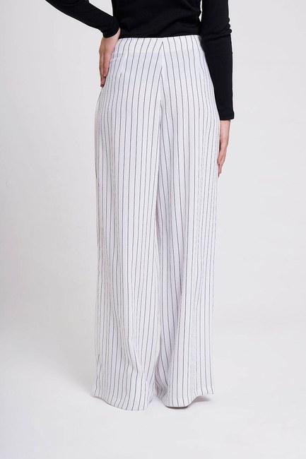 Çizgili Pileli Bol Paça Pantolon (Beyaz) - Thumbnail