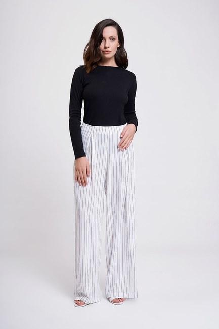 Mizalle Çizgili Pileli Bol Paça Pantolon (Beyaz)