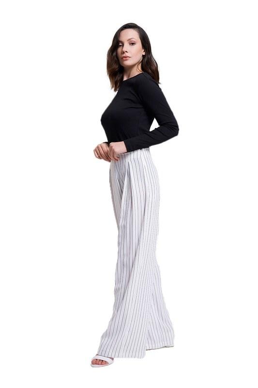 Çizgili Pileli Bol Paça Pantolon (Beyaz)