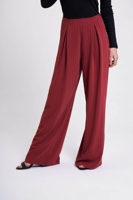 Çizgili Pileli Bol Paça Pantolon (Mürdüm)