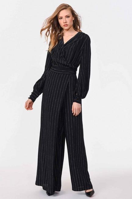 MIZALLE - Striped Premium Jumpsuit (Black) (1)