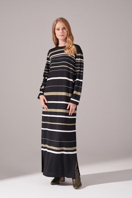 Mizalle - Çizgili Rayon Triko Elbise (Haki)