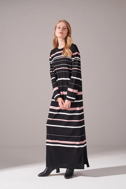 Mizalle - Çizgili Rayon Triko Elbise (Pudra)