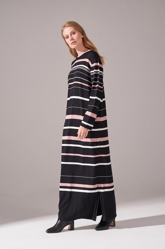 Çizgili Rayon Triko Pudra Elbise