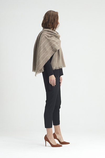 MIZALLE - Striped Shawl (Ecru) (1)