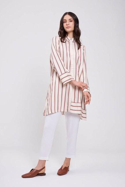 MIZALLE - Çizgili Saten Tunik Elbise (Ekru) (1)