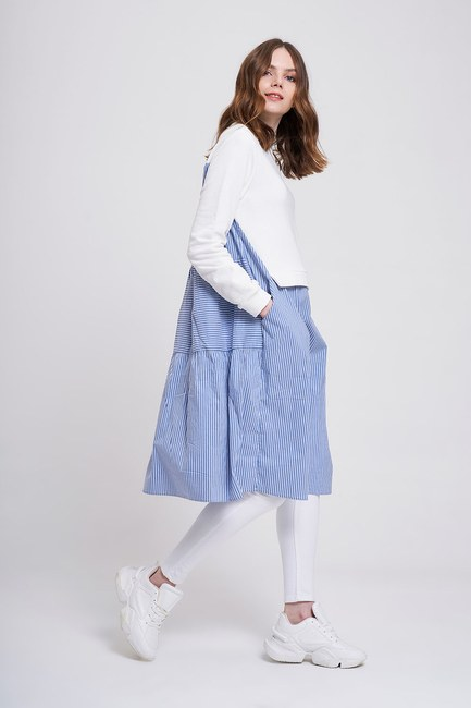 Çizgili Sweat Elbise (Ekru) - Thumbnail