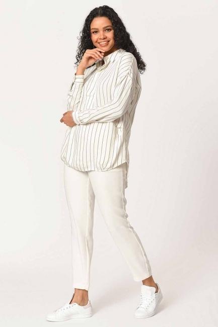 MIZALLE - Çizgili Yakalı Gömlek Bluz (Ekru) (1)