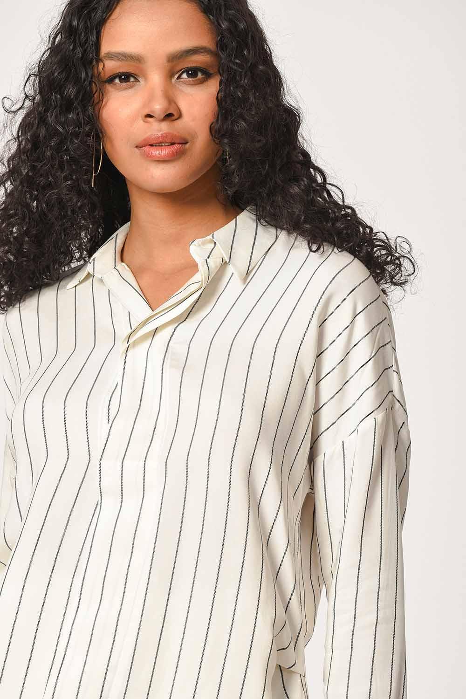 MIZALLE Çizgili Yakalı Gömlek Bluz (Ekru) (1)