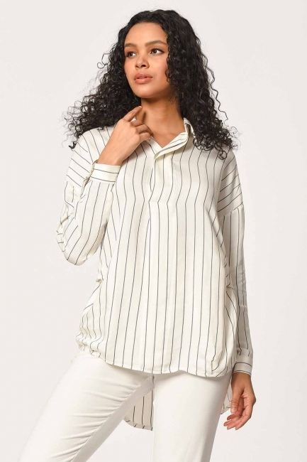 Striped Shirt Blouse (Ecru) - Thumbnail