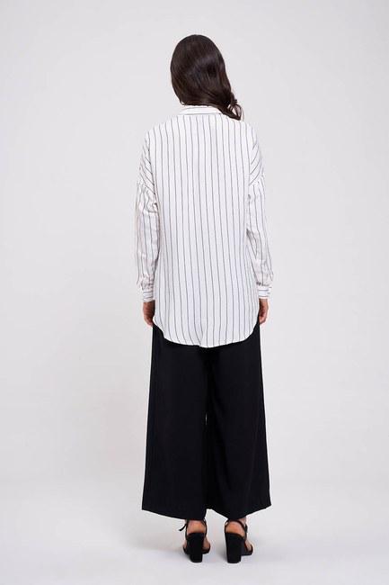 Çizgili Yakalı Gömlek Bluz (Ekru) - Thumbnail