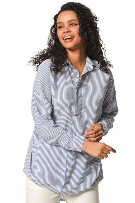 MIZALLE بلوزة قميص مقلم مع طوق(أَزْرَق)