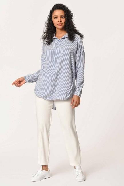 MIZALLE - بلوزة قميص مقلم مع طوق(أَزْرَق) (1)