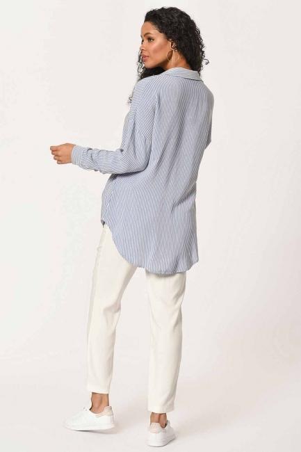 بلوزة قميص مقلم مع طوق(أَزْرَق) - Thumbnail