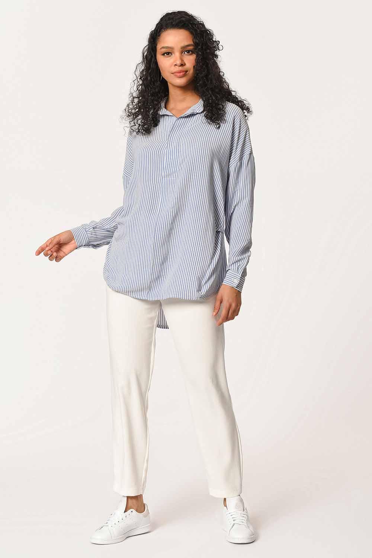 MIZALLE Çizgili Yakalı Gömlek Bluz (Mavi) (1)