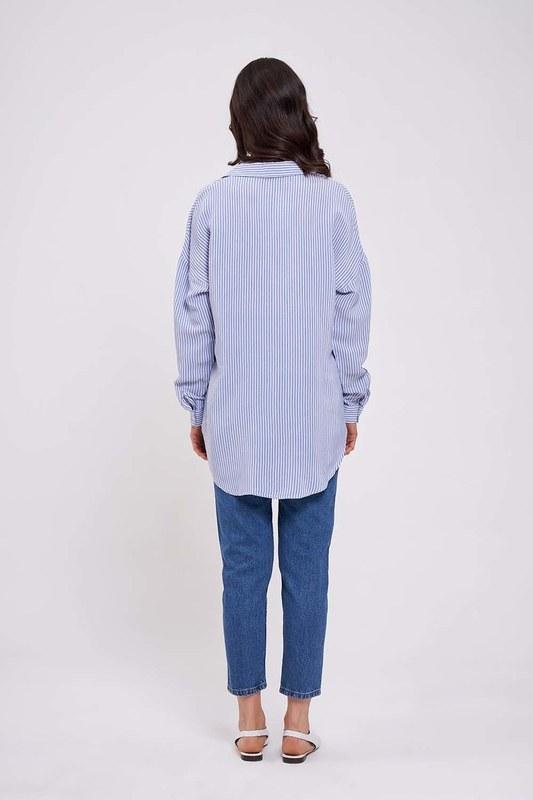 Çizgili Yakalı Gömlek Bluz (Mavi)