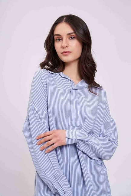 Çizgili Yakalı Gömlek Bluz (Mavi) - Thumbnail