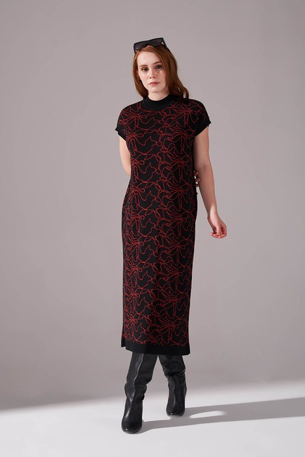 Mizalle - Çizim Desenli Triko İç Elbise (Kiremit)