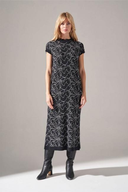 Mizalle - Çizim Desenli Triko İç Elbise (Siyah)