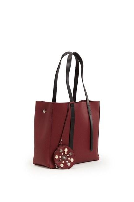MIZALLE - حقيبة ذراع كلاسيكية كبيرة (كلاريت أحمر) (1)