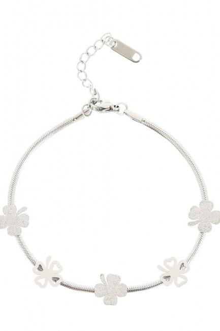 Clover Detailed Steel Bracelet (Grey) - Thumbnail