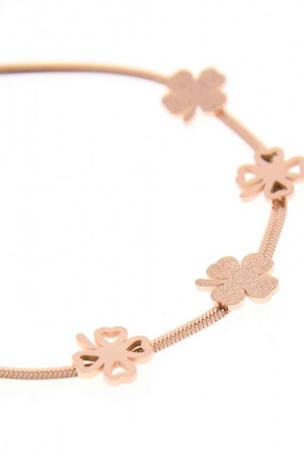 Clover Detailed Steel Bracelet (Rose) - Thumbnail