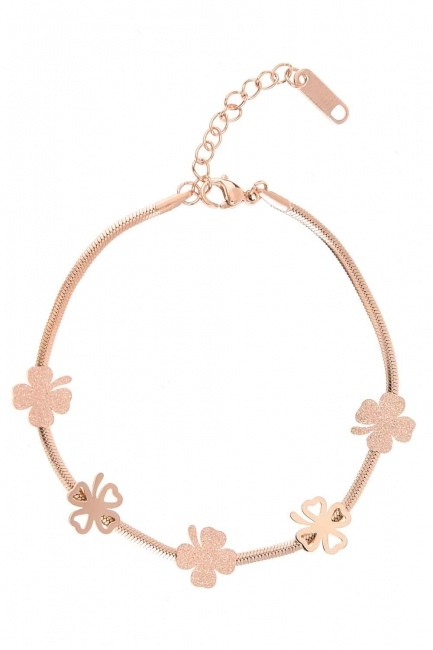 MIZALLE Clover Detailed Steel Bracelet (Rose)
