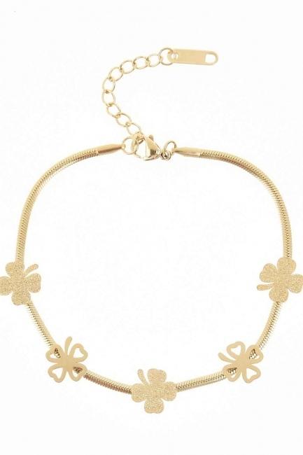 MIZALLE Clover Detailed Steel Bracelet (Yelow)