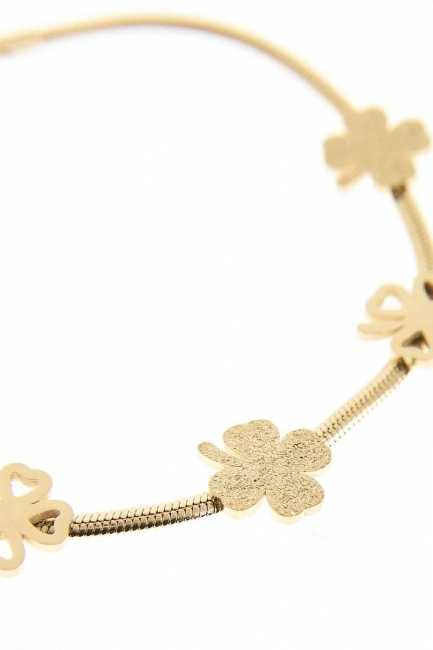 Clover Detailed Steel Bracelet (Yelow) - Thumbnail