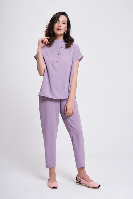 MIZALLE - Coating Buttoned Blouse (Lilac) (1)