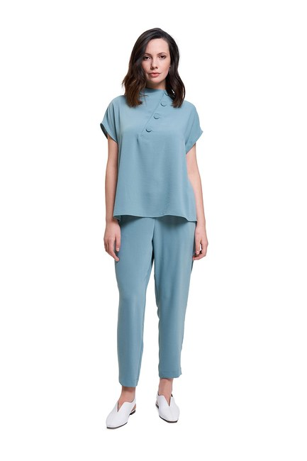 Mizalle - Coating Buttoned Blouse (Mint) (1)