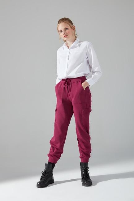 Mizalle - Çok Cepli Üç İplik Pantolon (Mürdüm)