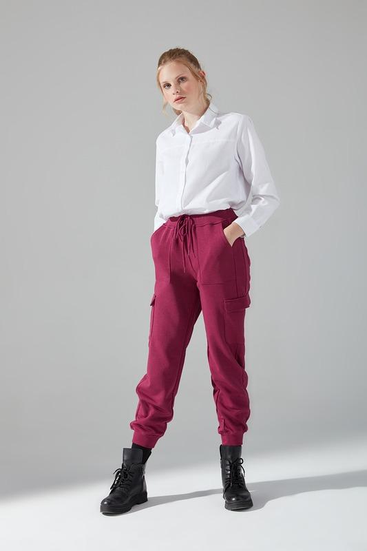 Çok Cepli Üç İplik Pantolon (Mürdüm)