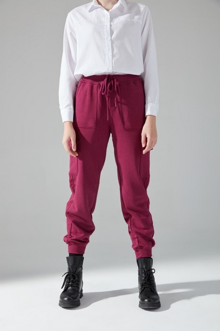 Çok Cepli Üç İplik Pantolon (Mürdüm) - Thumbnail