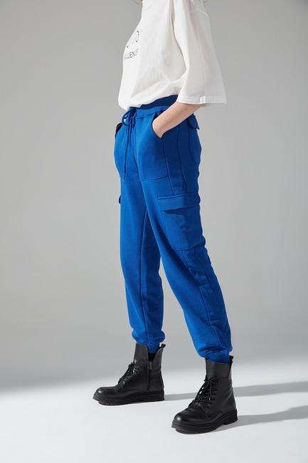 Çok Cepli Üç İplik Pantolon (Saks) - Thumbnail