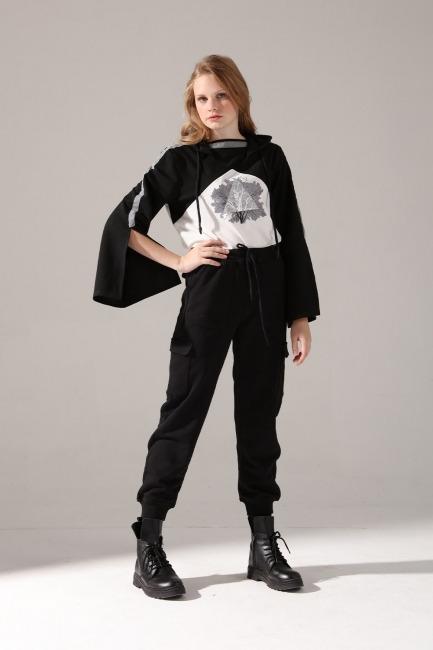 Mizalle - Çok Cepli Üç İplik Pantolon (Siyah)