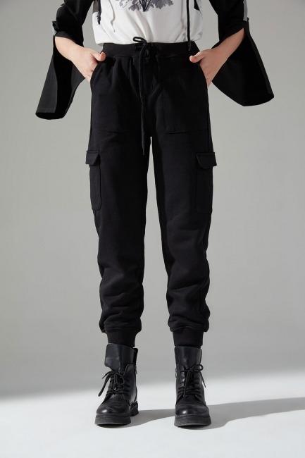 Çok Cepli Üç İplik Pantolon (Siyah) - Thumbnail