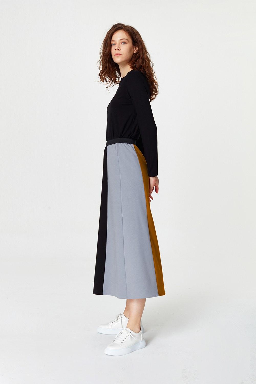 MIZALLE Multi-Pieces Skirt (Grey) (1)
