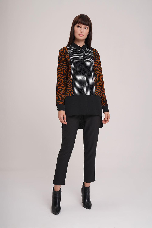 Mizalle - Çok Parçalı Gömlek Bluz (Siyah)