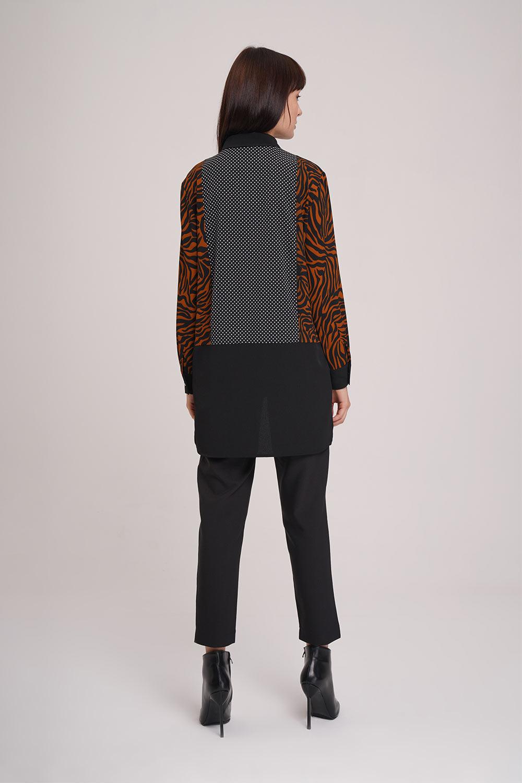 Çok Parçalı Gömlek Bluz (Siyah) - Thumbnail